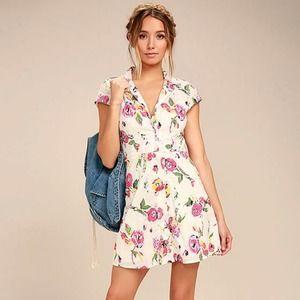 New Obey Desi Cream Floral Print Shirt Dress XXS
